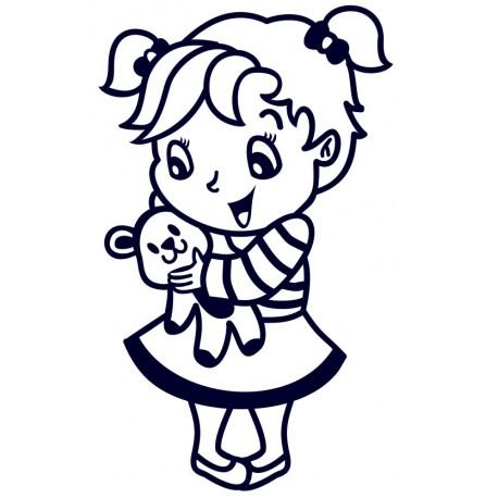 Samolepka dítě v autě- holka s medvídkem