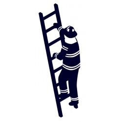 Samolepka na auto-hasič na žebříku