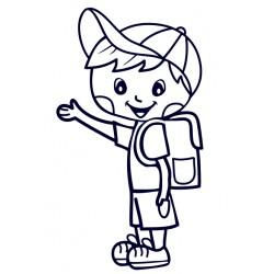 Samolepka na auto se jménem dítěte - kluk s aktovkou