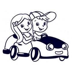 Samolepka na auto se jménem dětí- Děti v autě