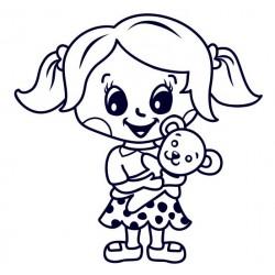 Samolepka na auto se jménem dítěte- holka s medvídkem