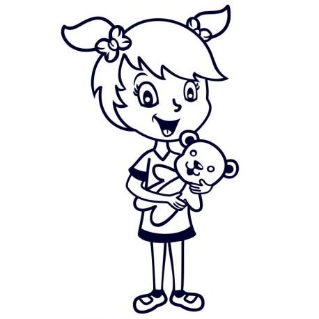 Samolepka na auto se jménem dítěte- holka s méďou